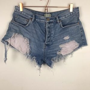 Free People Distressed High Waist Jean Shorts 30
